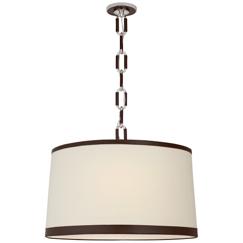 Cody Large Hanging Shade in Polished Nickel with Linen Shade and Chocolate Leather Trim