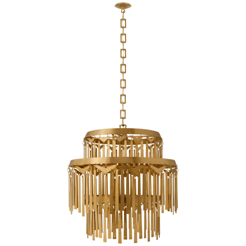 Natalie Large Tiered Chandelier in Natural Brass