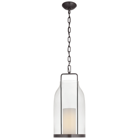 Ollie Medium Lantern in Bronze with Clear Glass