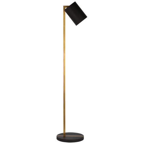 Anthony Pivoting Floor Lamp in Matte Black and Hand-Rubbed Antique Brass