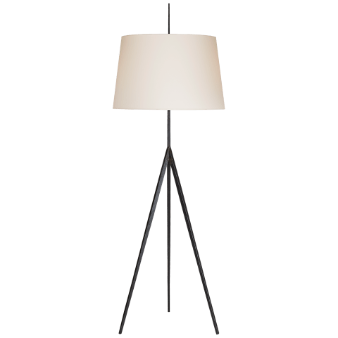 Triad Hand-Forged Floor Lamp in Aged Iron with Natural Percale Shade