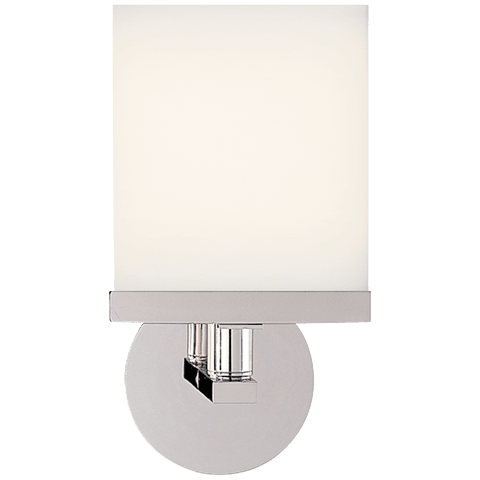 Shield Round Sconce in Polished Nickel with White Flat Panel Glass