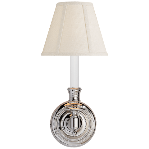 French Single Sconce in Polished Nickel with Linen Shade