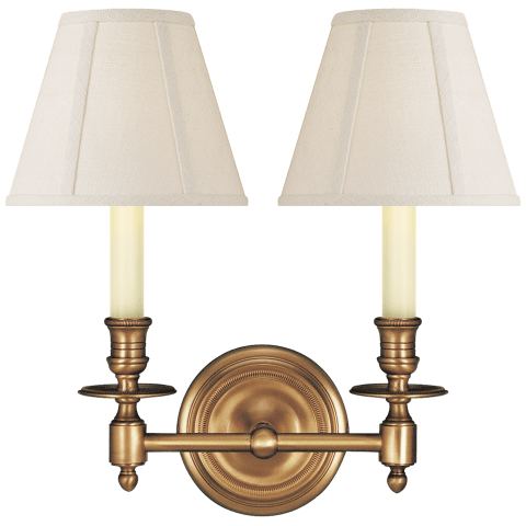 French Double Sconce in Hand-Rubbed Antique Brass with Linen Shades