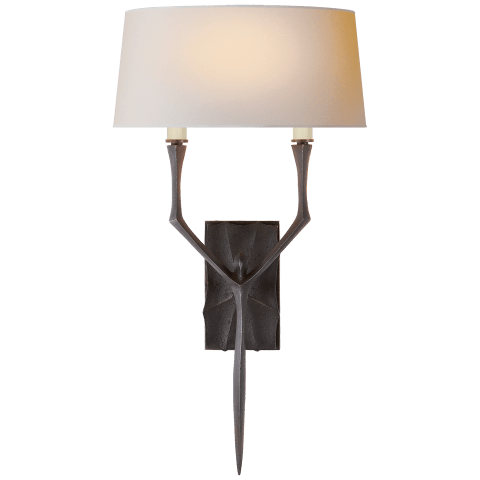 Bristol Large Sconce in Gilded Iron with Natural Paper Shade