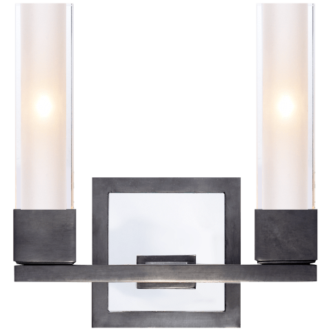 Kendal Double Sconce in Bronze with Clear Glass