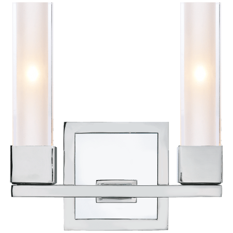 Kendal Double Sconce in Polished Nickel with Clear Glass