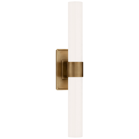Presidio Petite Double Sconce in Hand-Rubbed Antique Brass with White Glass