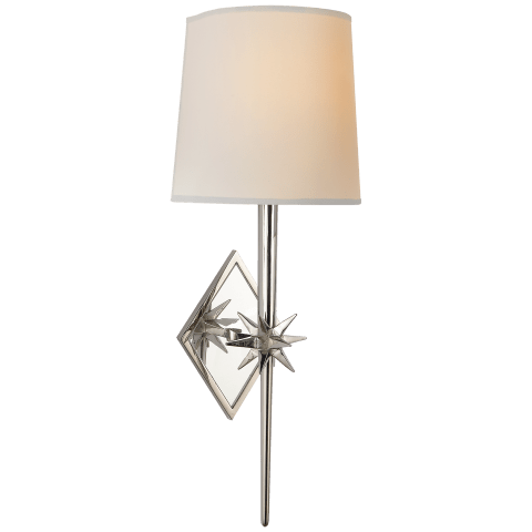 Etoile Sconce in Polished Nickel with Natural Paper Shield