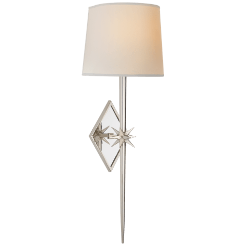 Etoile Large Tail Sconce in Polished Nickel with Natural Paper Shade