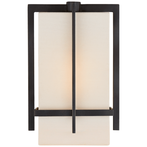 Milo Small Sconce in Aged Iron with Linen Shade