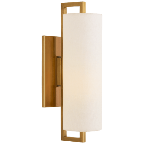 Bowen Medium Sconce in Hand-Rubbed Antique Brass with Linen Shade
