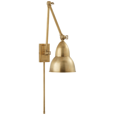 French Library Double Arm Wall Lamp in Hand-Rubbed Antique Brass