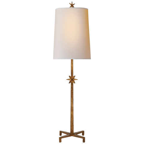 Etoile Large Table Lamp in Gilded Iron with Natural Paper Shade