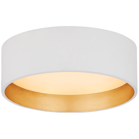 """Shaw 5"""" Solitaire Flush Mount in Matte White and Gild with White Glass"""