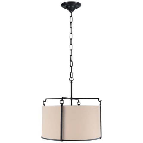 Aspen Large Hanging Shade in Black Rust with Natural Paper Shade