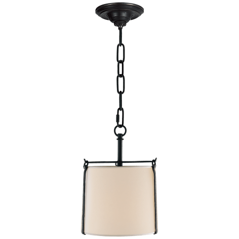 Aspen Small Hanging Shade in Black Rust with Natural Paper Shade