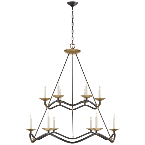 Choros Two-Tier Chandelier in Aged Iron