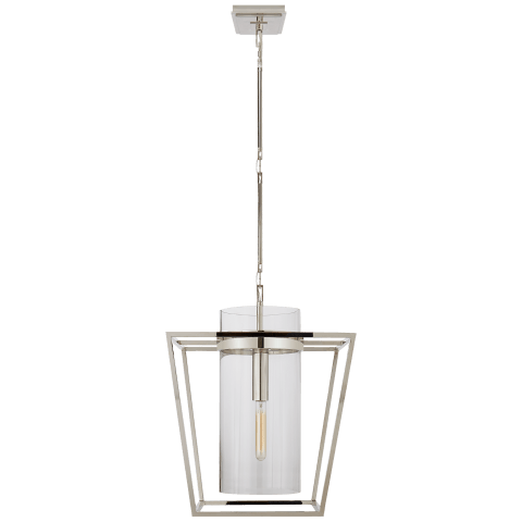 Presidio Small Lantern in Polished Nickel with Clear Glass