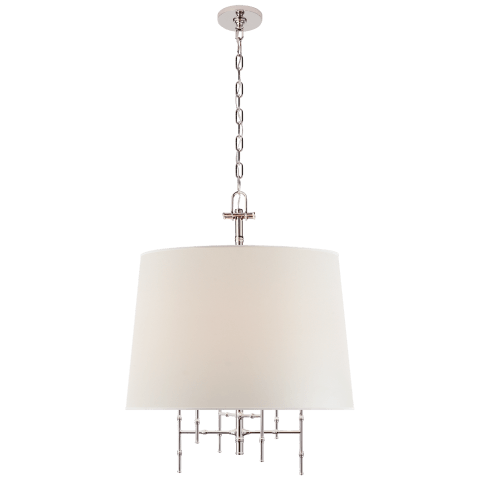Grenol Medium Hanging Shade in Polished Nickel with Natural Percale Shade