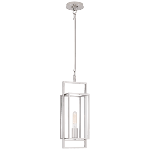 Halle Petite Lantern in Polished Nickel with Clear Glass