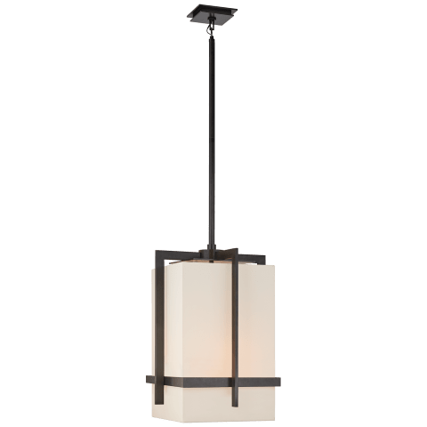 Milo Large Pendant in Aged Iron with Linen Shade
