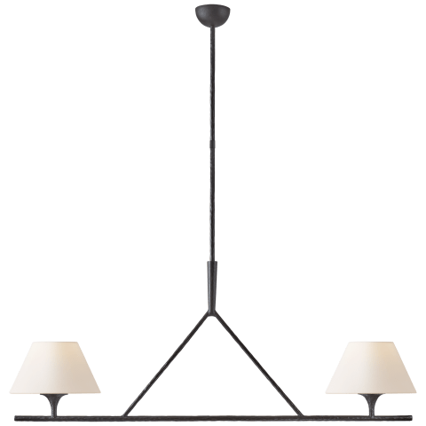 Cesta Large Linear Chandelier in Aged Iron with Linen Shades