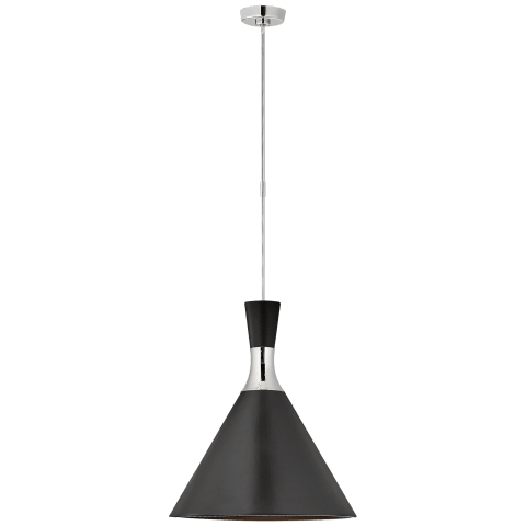 Liam Large Conical Pendant in Polished Nickel with Metallic Black Shade