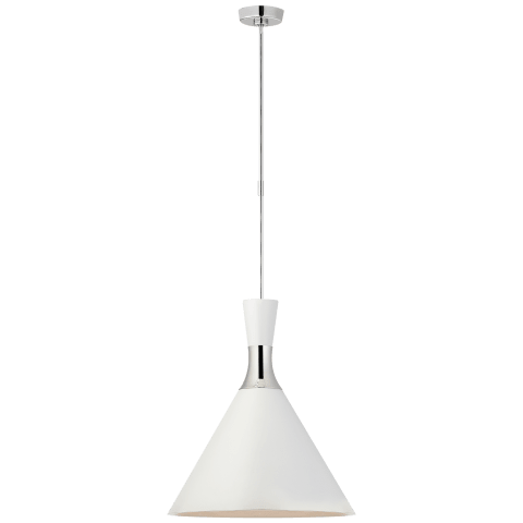 Liam Large Conical Pendant in Polished Nickel with Matte White Shade