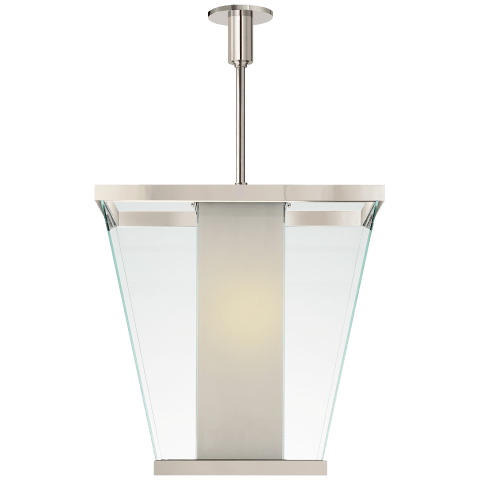 Marin Lantern in Polished Nickel with White Glass