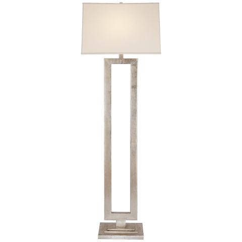 Modern Open Floor Lamp in Burnished Silver Leaf with Linen Shade