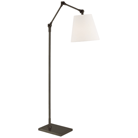 Graves Articulating Floor Lamp in Bronze with Linen Shade