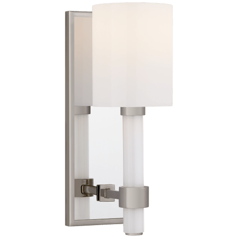 Maribelle Single Sconce in Polished Nickel with White Glass