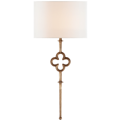Quatrefoil Tail Sconce in Gilded Iron with Linen Shade