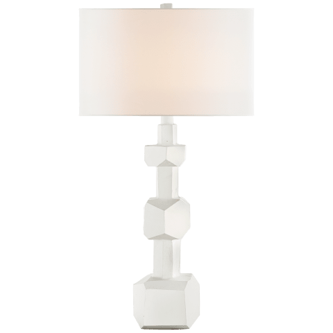 Vienne Medium Buffet Lamp in Plaster White with Linen Shade