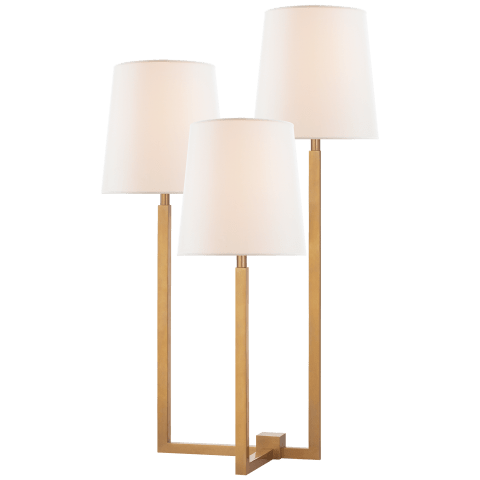 Margot Medium Triple Arm Table Lamp in Hand-Rubbed Antique Brass with Linen Shades