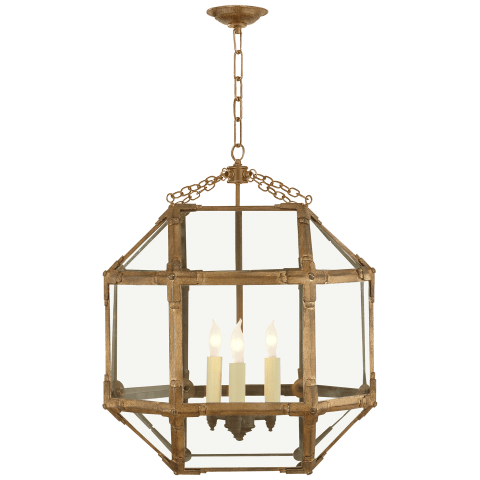 Morris Medium Lantern in Gilded Iron with Clear Glass