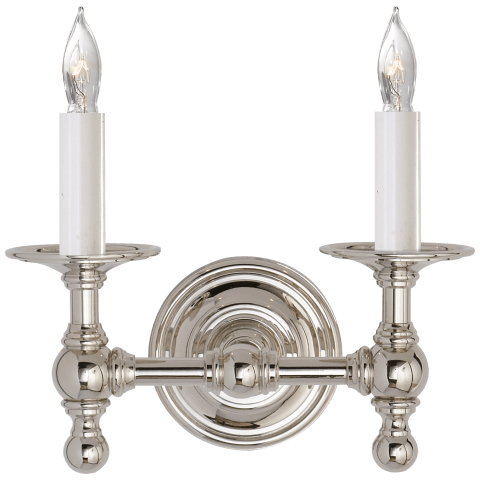 Classic Double Sconce in Polished Nickel