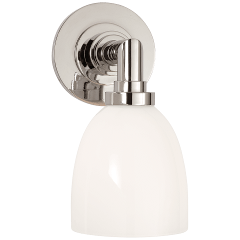 Wilton Single Bath Light in Polished Nickel with White Glass