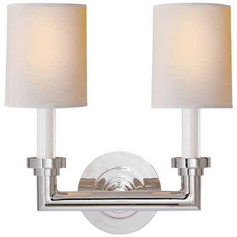 Wilton Double Sconce in Polished Nickel with Natural Paper Shades