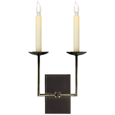 Right Angle Double Sconce in Bronze