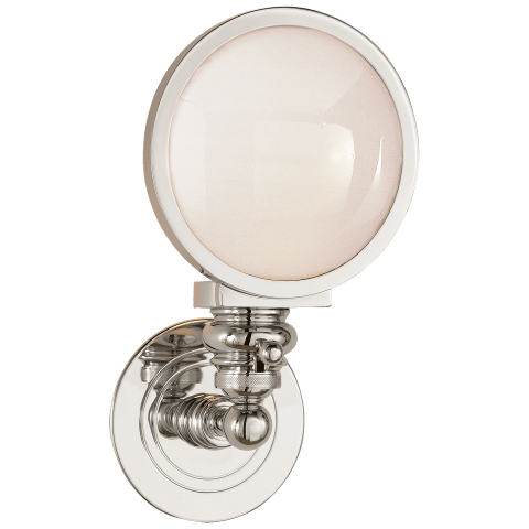 Boston Head Light Sconce in Polished Nickel with White Glass