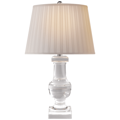 Round Medium Balustrade Table Lamp in Crystal with Silk Pleated Shade