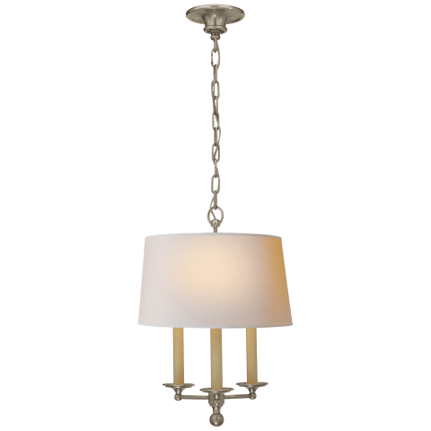 Classic Candle Hanging Light in Antique Nickel with Natural Paper Shade