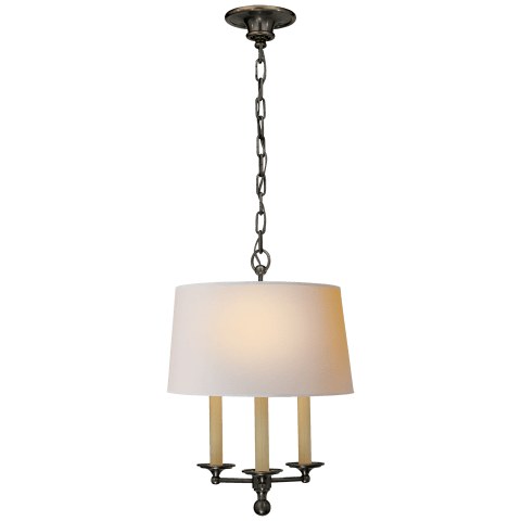 Classic Candle Hanging Light in Bronze with Natural Paper Shade