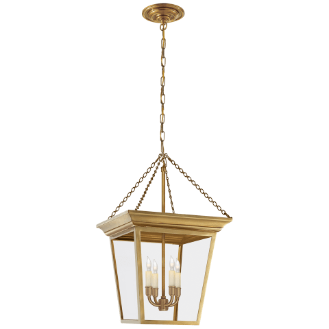 Cornice Small Lantern in Hand-Rubbed Antique Brass