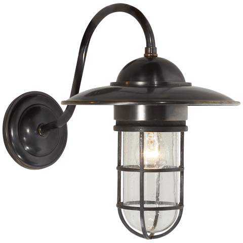 Marine Medium Wall Light in Bronze with Seeded Glass