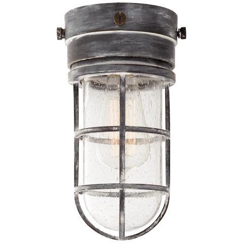 Marine Indoor / Flush Mount Light in Weathered Zinc with Seeded Glass