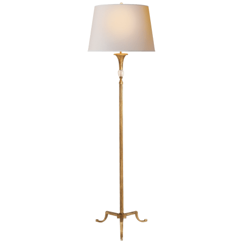 Maurice Floor Lamp in Gilded Iron with Quartz and Natural Paper Shade