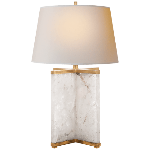 Cameron Table Lamp in Crystal and Polished Nickel with Natural Paper Shade